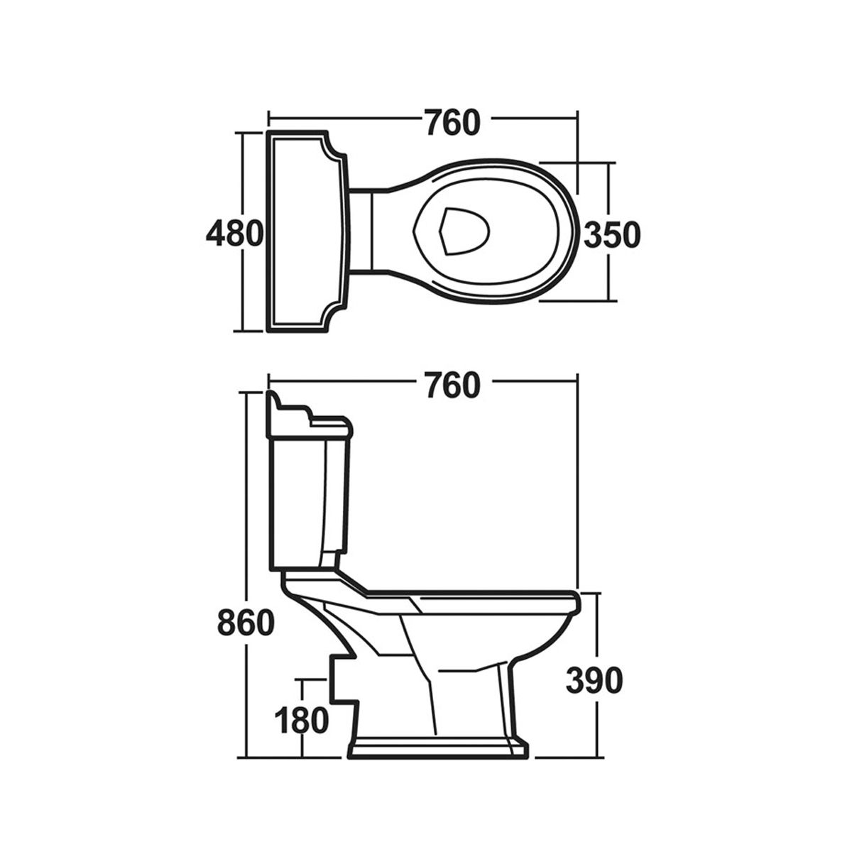 Nuie Legend Close Coupled Toilet and Soft Close Seat Dimensions