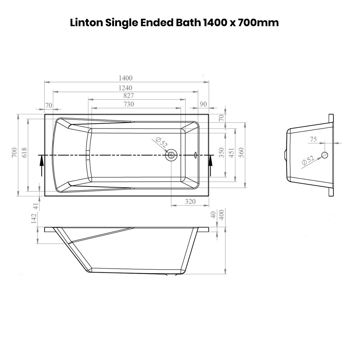 Nuie Linton Straight Shower Bath 1400 x 700mm Dimensions