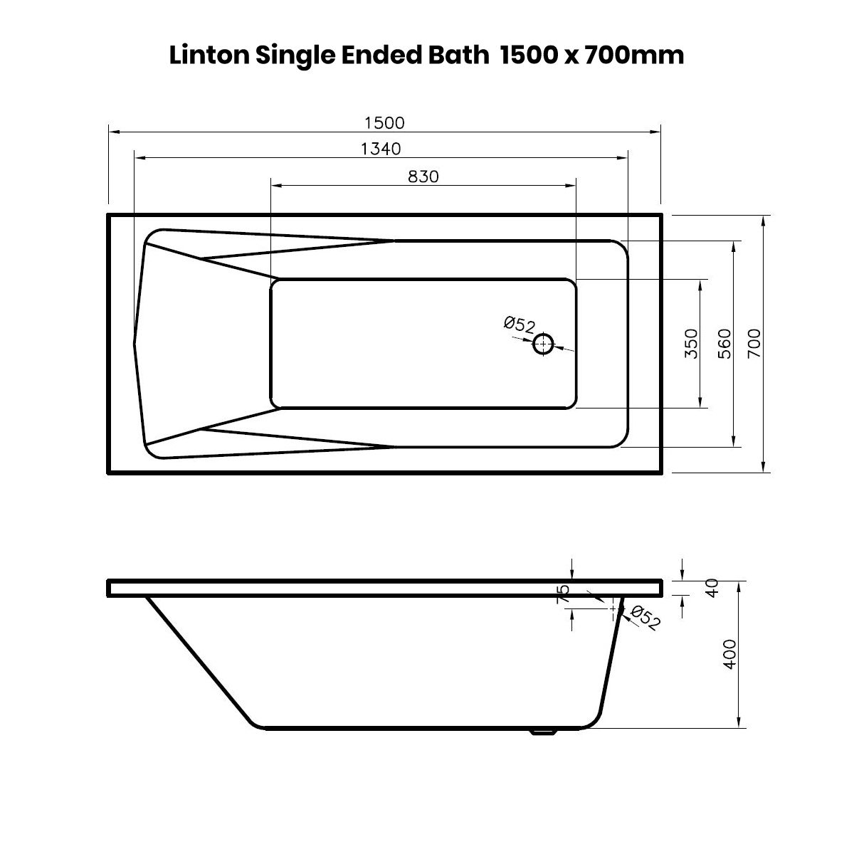 Nuie Linton Straight Shower Bath 1500 x 700mm Dimensions