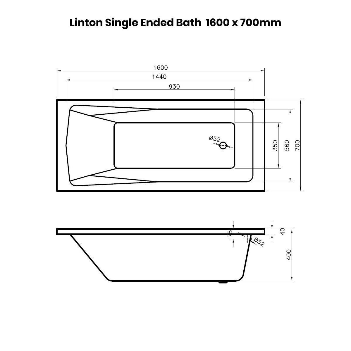 Nuie Linton Straight Shower Bath 1600 x 700mm Dimensions