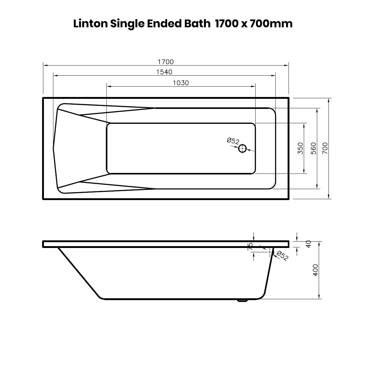 Nuie Linton Straight Shower Bath 1700 x 700mm Dimensions