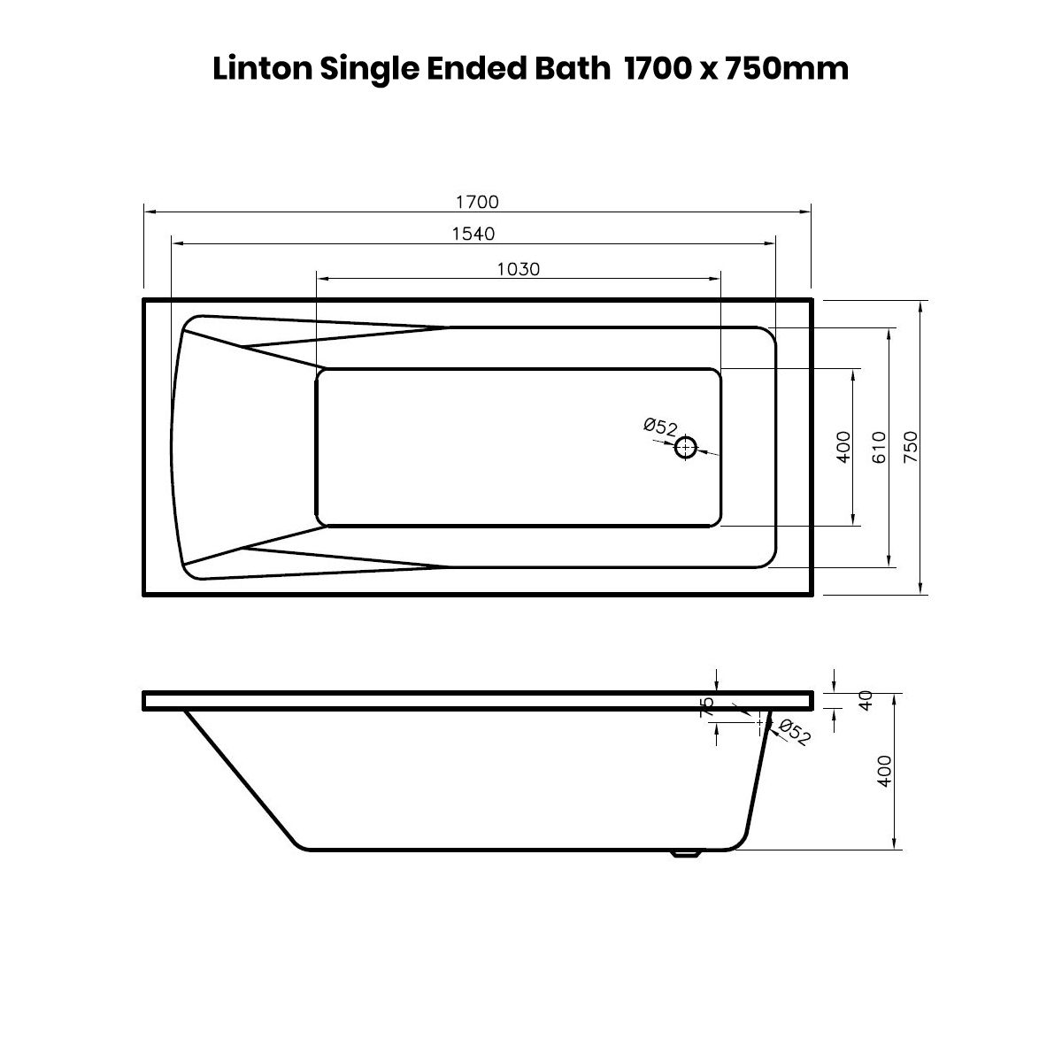 Nuie Linton Straight Shower Bath 1700 x 750mm Dimensions