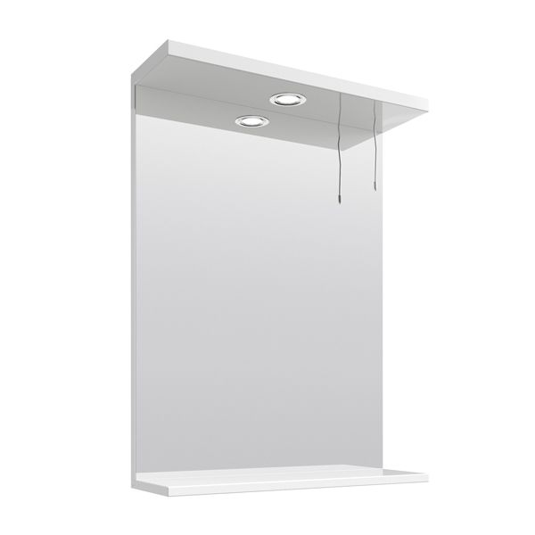 Premier High Gloss White Bathroom Mirror and Light 550mm