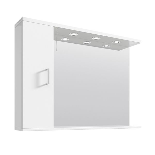 Premier High Gloss White Bathroom Mirror Cabinet with Lights 1050mm