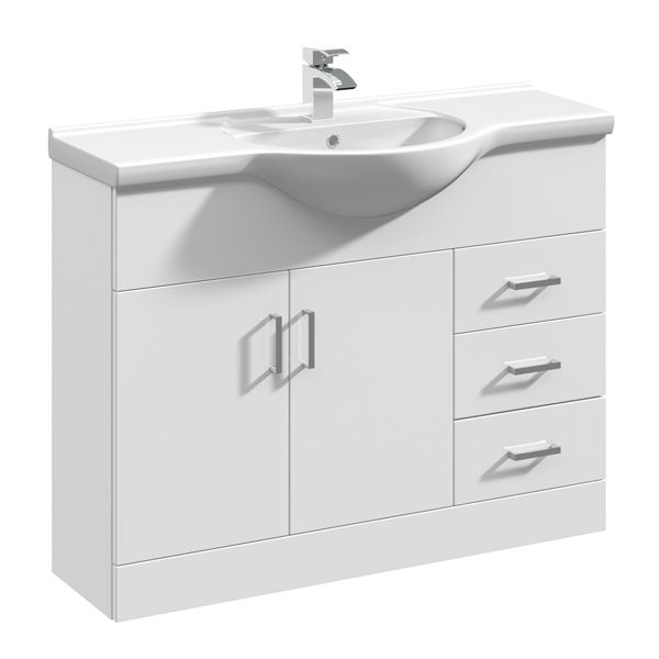 Nuie High Gloss White Vanity Unit 1050mm