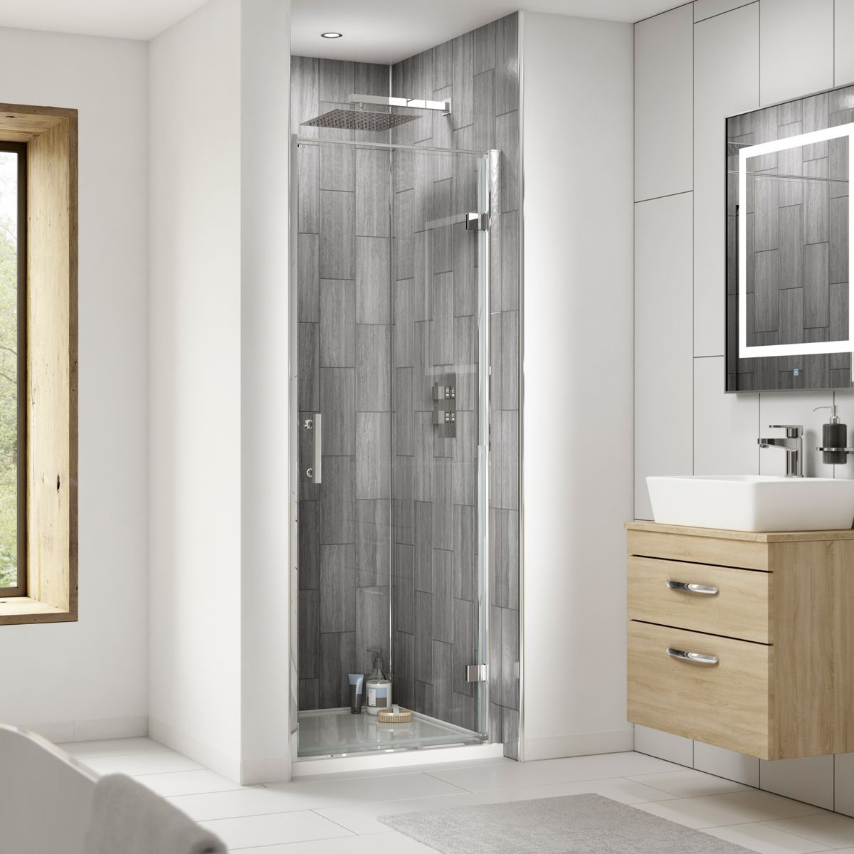 Premier Pacific Hinged Shower Enclosure Recess