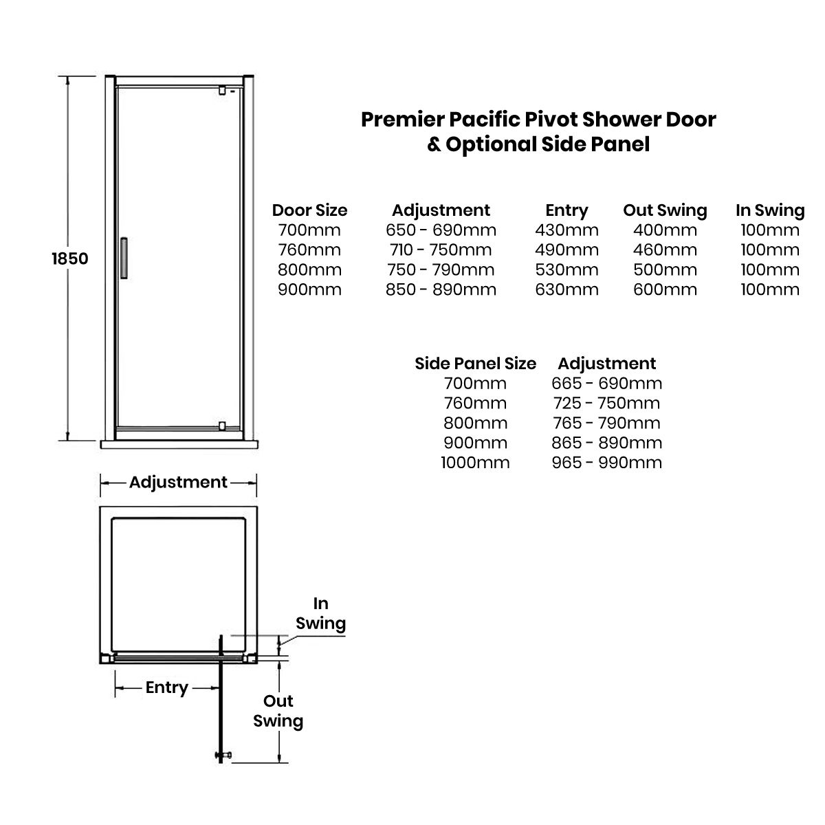 Premier Pacific Pivot Shower Enclosure Dimensions