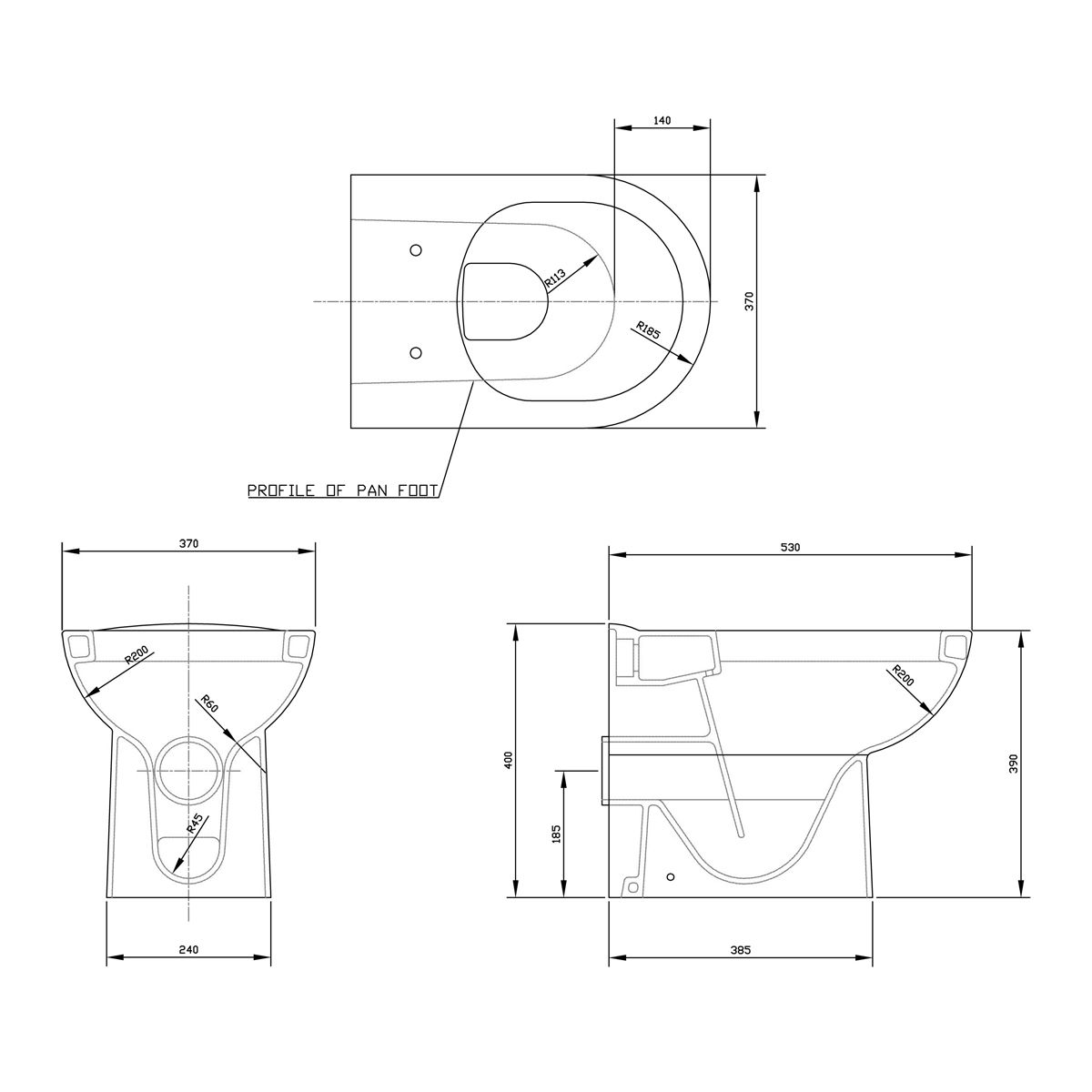 Premier D Shape Back To Wall Toilet Dimensions