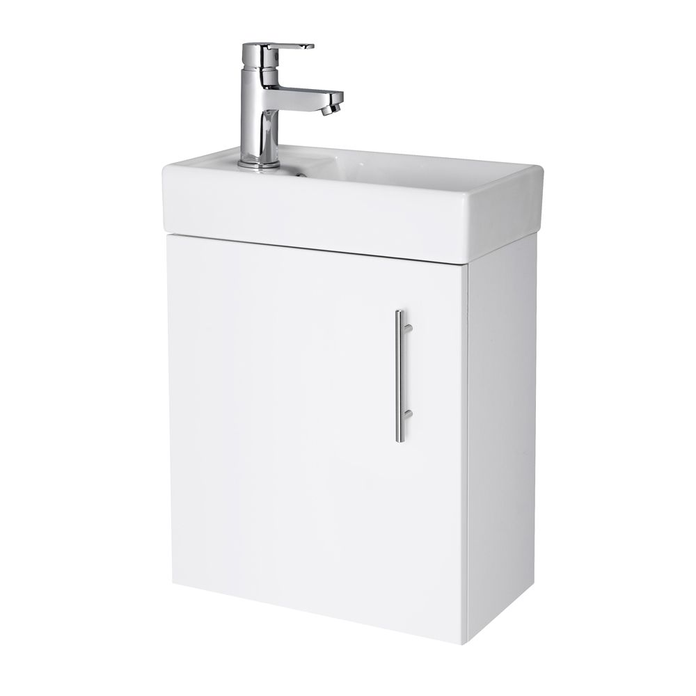 Premier Vault Gloss White Wall Hung Compact Vanity Unit 400mm