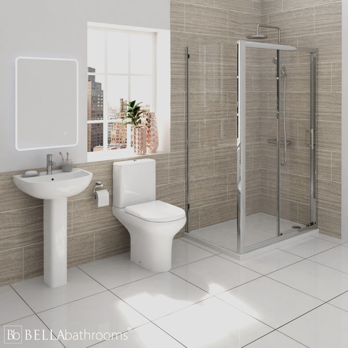 RAK Compact Shower Suite with Pacific Sliding Door Shower Enclosure