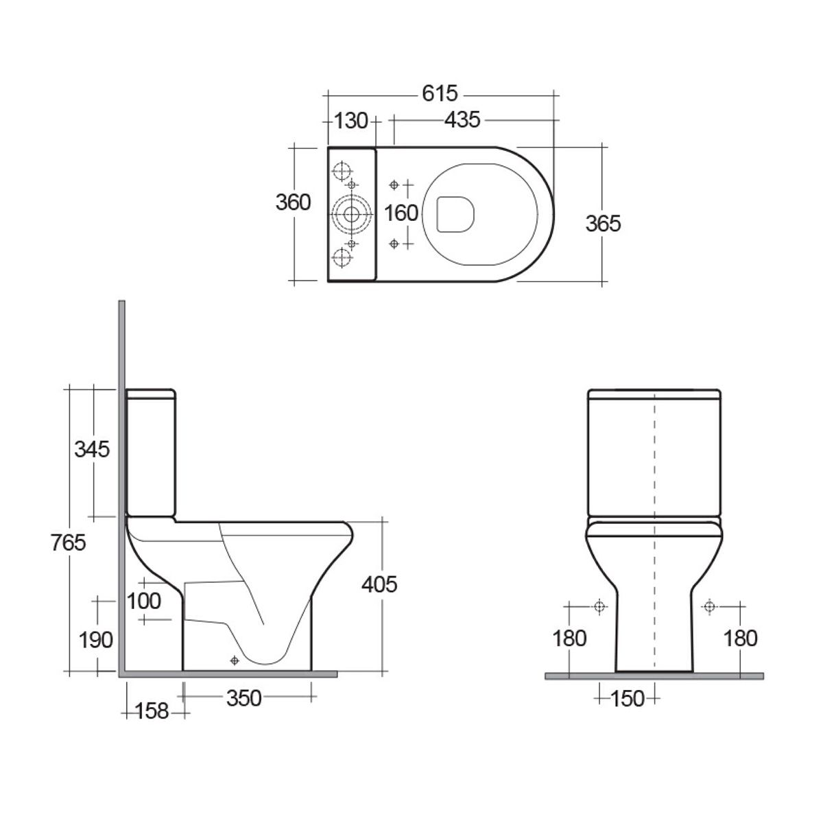 RAK Compact Close Coupled Toilet Dimensions