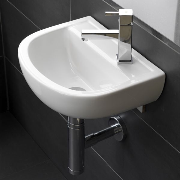 RAK Compact Special Needs Wall Hung Basin 380mm Right Hand