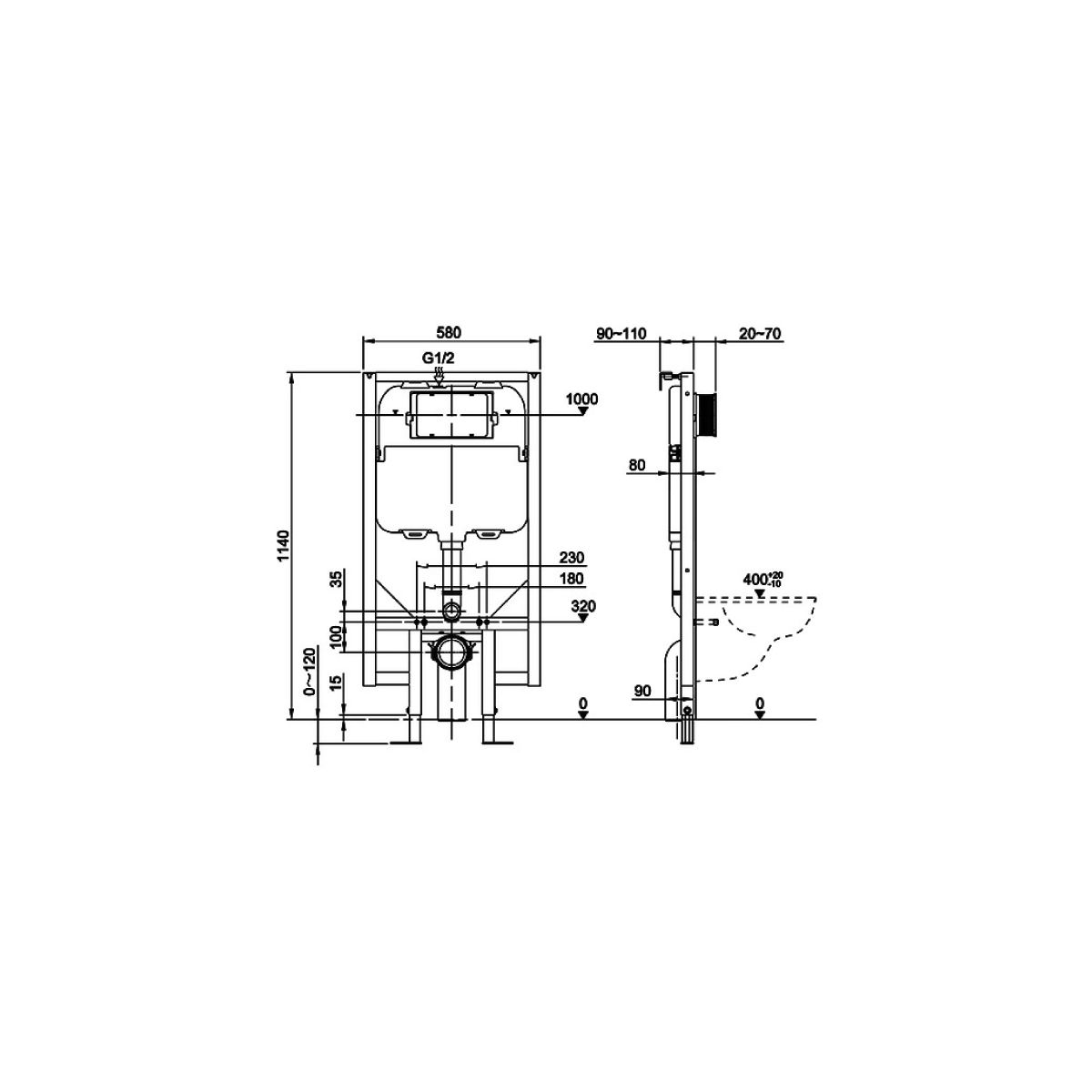 RAK Ecofix Concealed Cistern with Metal Support Frame 580mm Dimensions