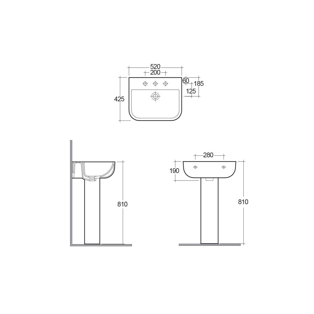 RAK Series 600 1 Tap Hole Basin with Full Pedestal Dimensions