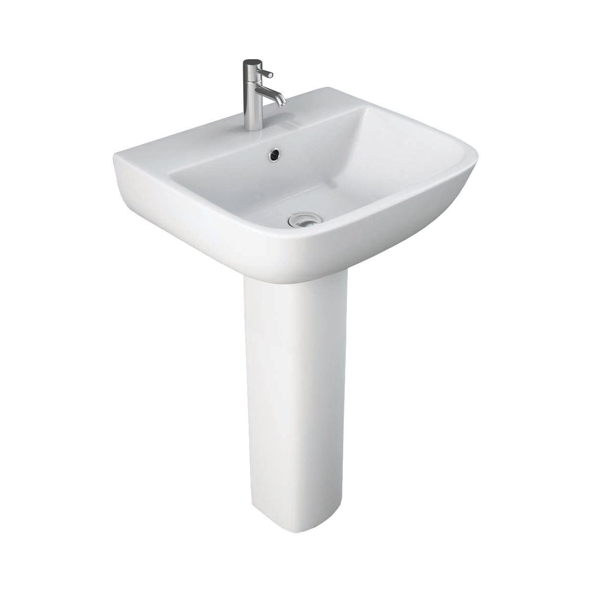 RAK Series 600 1 Tap Hole Basin with Full Pedestal
