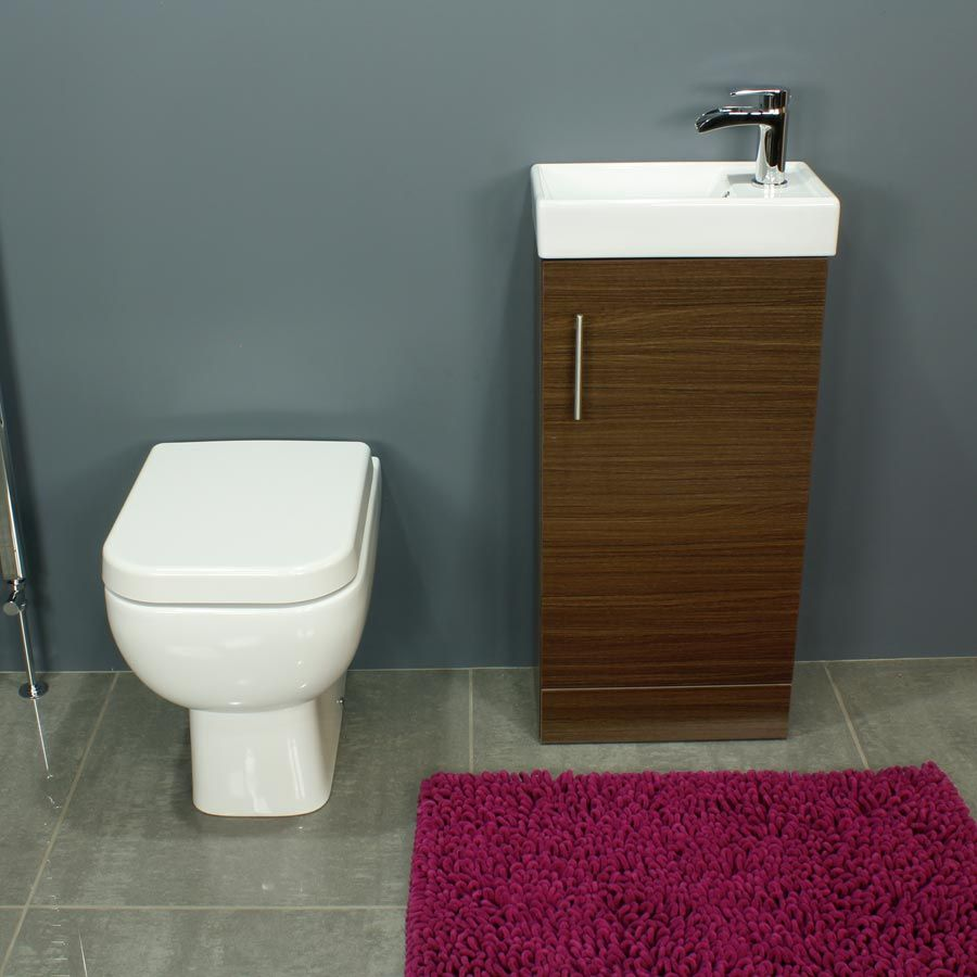 RAK Series 600 Back To Wall Toilet and 400 Series Walnut Vanity Unit Front