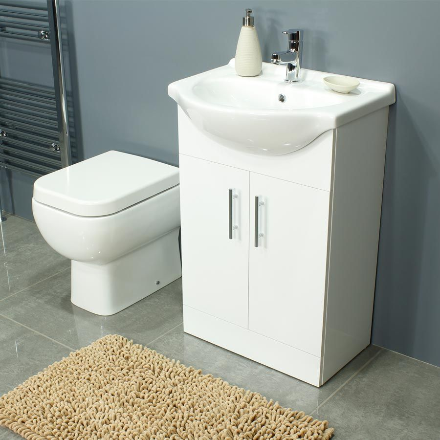 RAK Series 600 Back To Wall Toilet and 550 Series Gloss White Vanity Unit
