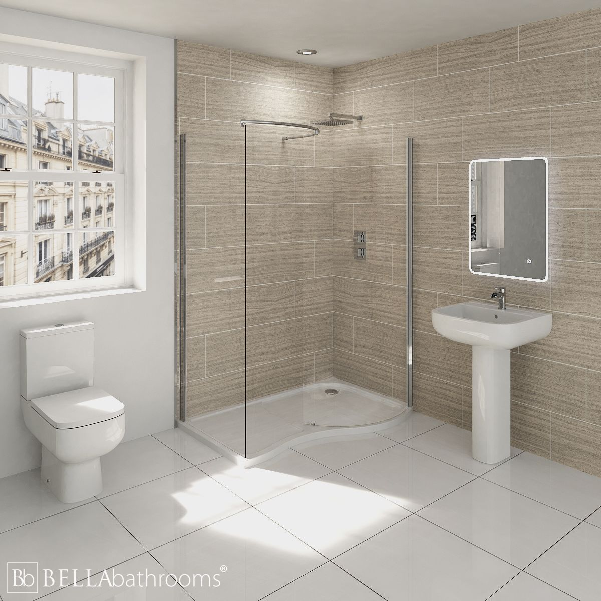RAK Series 600 Bathroom Suite with Pacific Walk-In Shower Enclosure