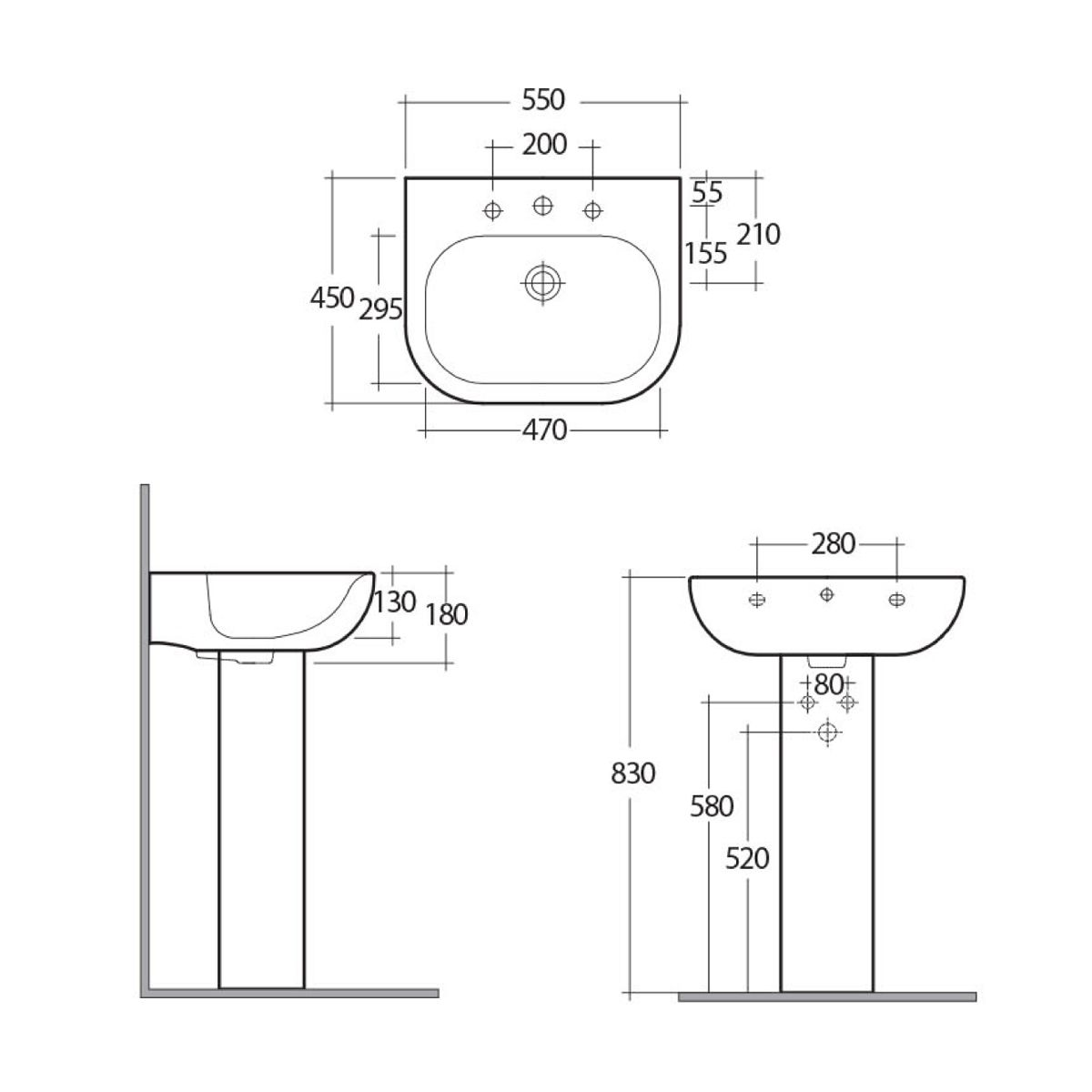 RAK Tonique 1 Tap Hole Basin with Full Pedestal Dimensions