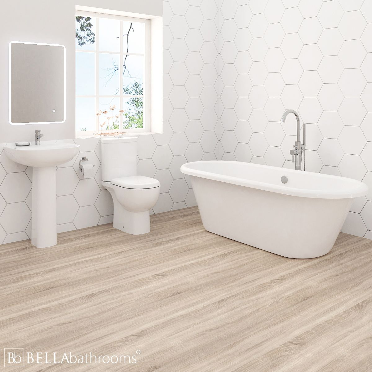 RAK Tonique Bathroom Suite with Haworth Freestanding Bath
