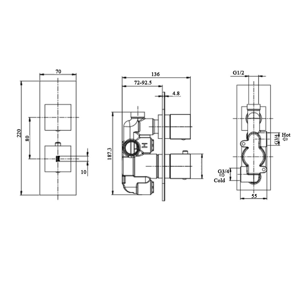 RAK Feeling Black Round Single Outlet Thermostatic Shower Valve Measurements