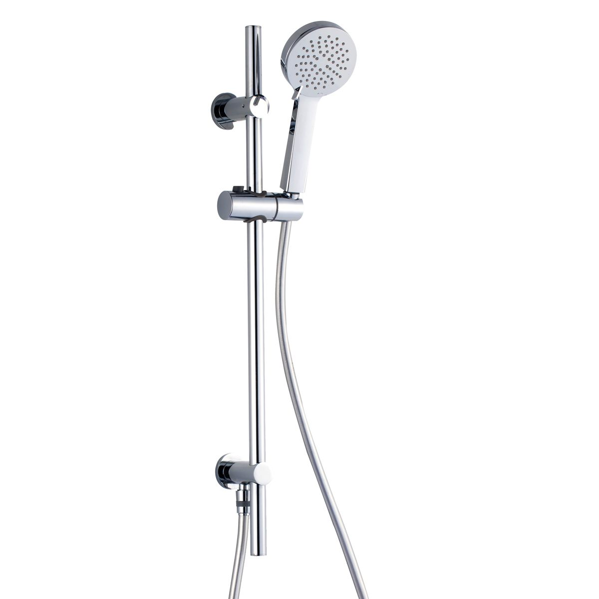 RAK Chrome Square Slide Rail Shower Kit with 3 Function Shower Head and Integral Wall Outlet
