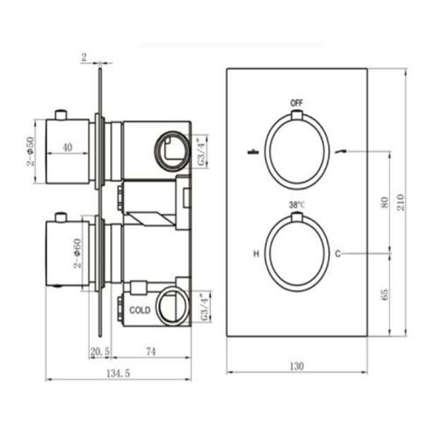 RAK White Round Single Outlet 2 Handle Thermostatic Shower Valve Measurements