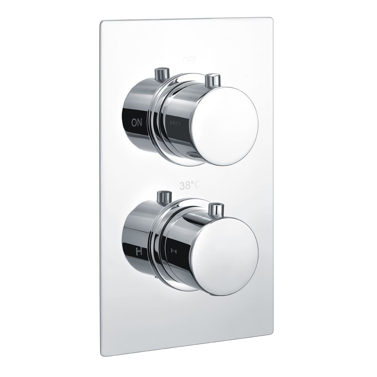 RAK White Round Single Outlet 2 Handle Thermostatic Shower Valve