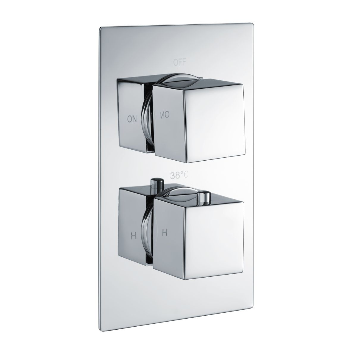 RAK Square Single Outlet 2 Handle Thermostatic Shower Valve