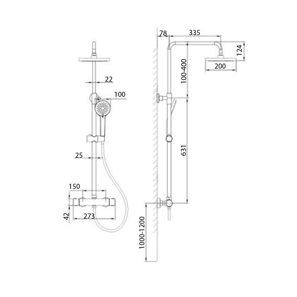 RAK Cool Touch Round Thermostatic Shower Column with Shower Head Measurements
