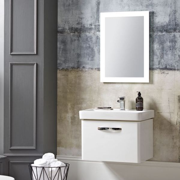 Tavistock Compass Gloss White Wall Mounted Vanity Unit 500mm Dimensions