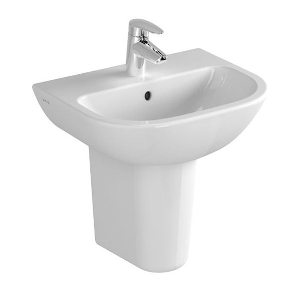 Vitra S20 1 Tap Hole Cloakroom Basin with Semi Pedestal 500mm