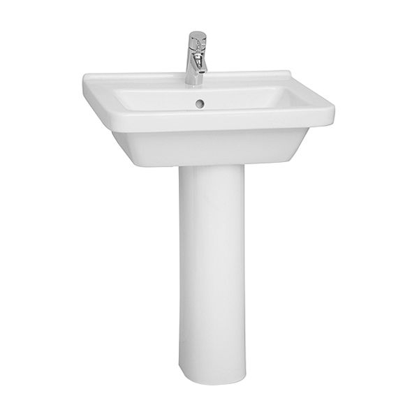 Vitra S50 1 Tap Hole Square Basin with Full Pedestal 550mm