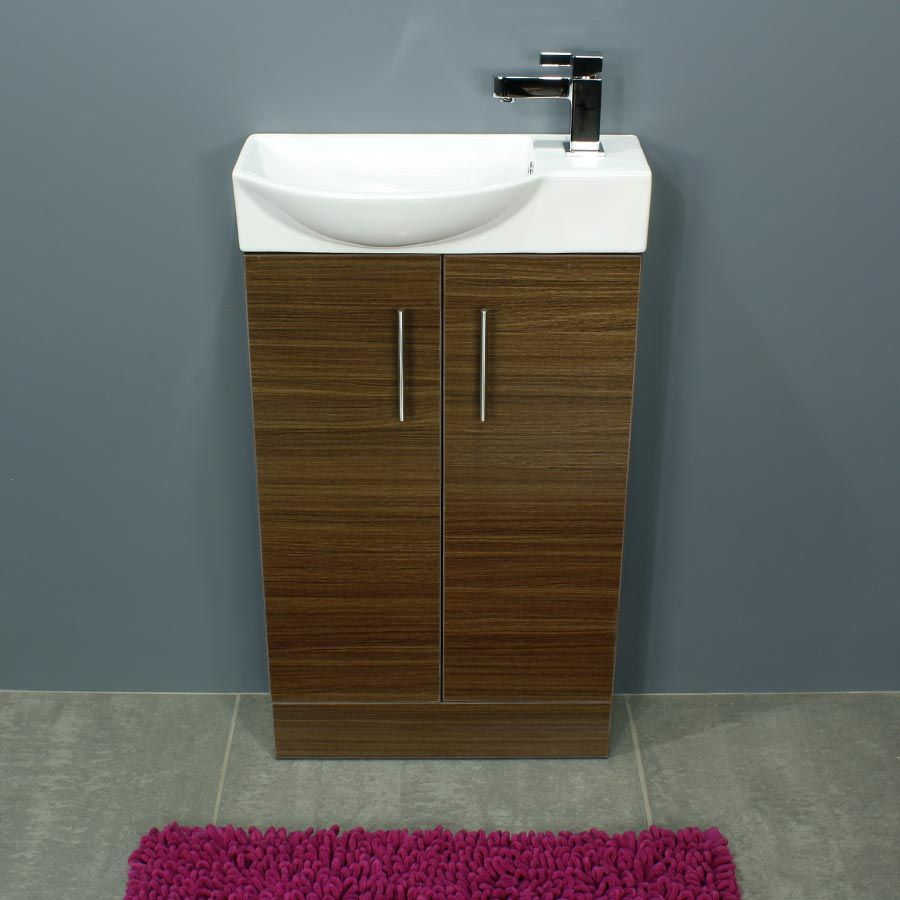 Cassellie 500 Series Mini Walnut Double Door Vanity Unit Front