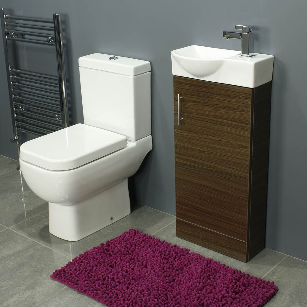 RAK Series 600 Close Coupled Toilet and 400 Series Walnut Mini Vanity Unit