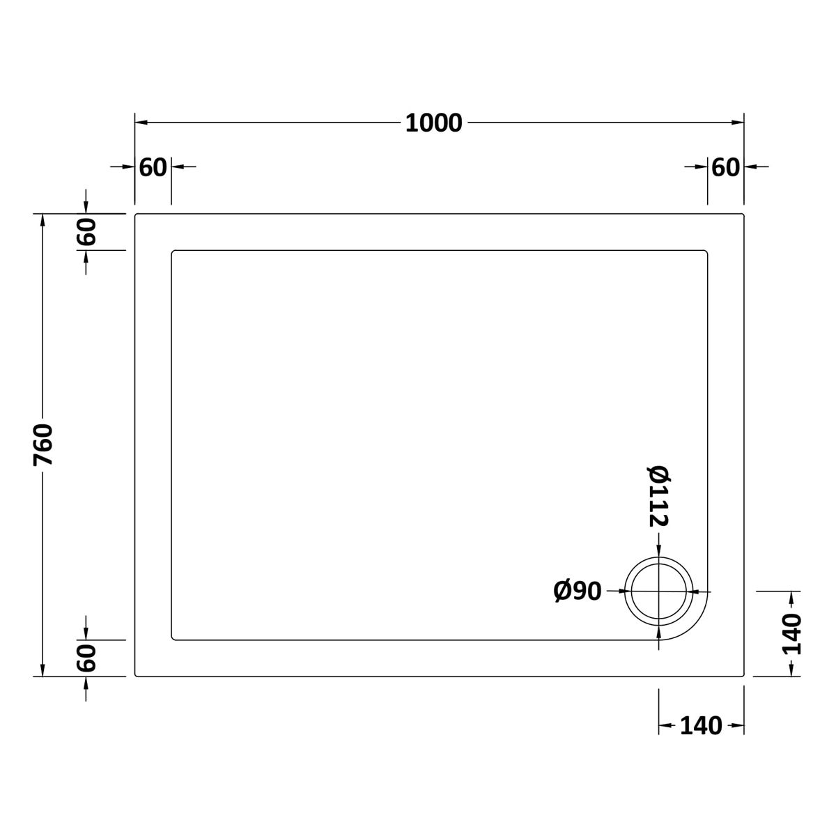 1000 x 760 Shower Tray Rectangular Low Profile by Pearlstone Dimensions