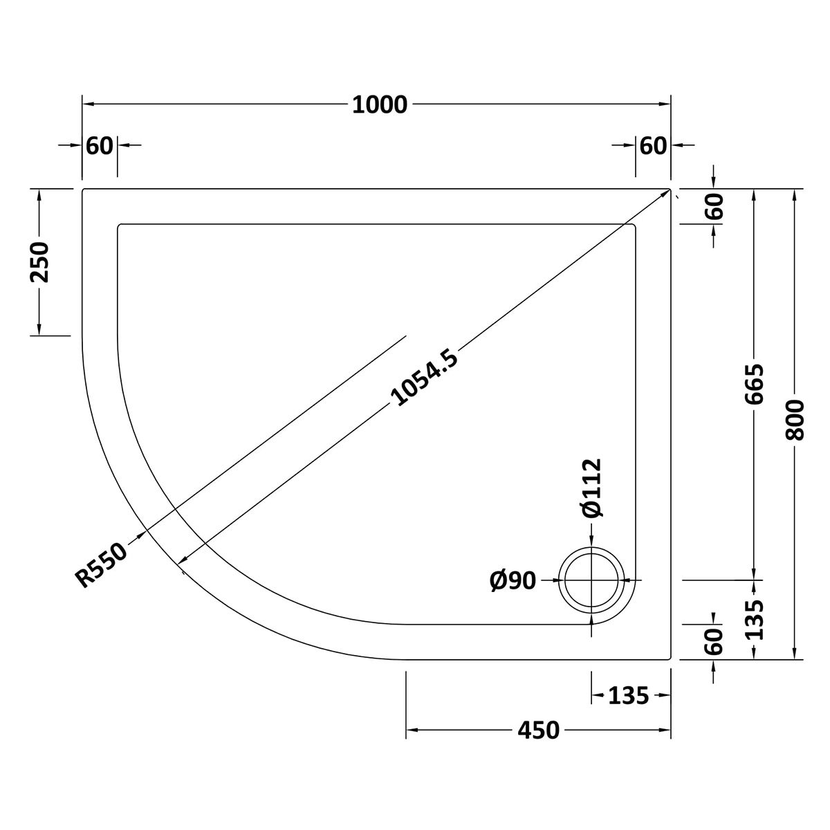 1000 x 800 Shower Tray Offset Quadrant Low Profile Left Hand by Pearlstone Line Drawing
