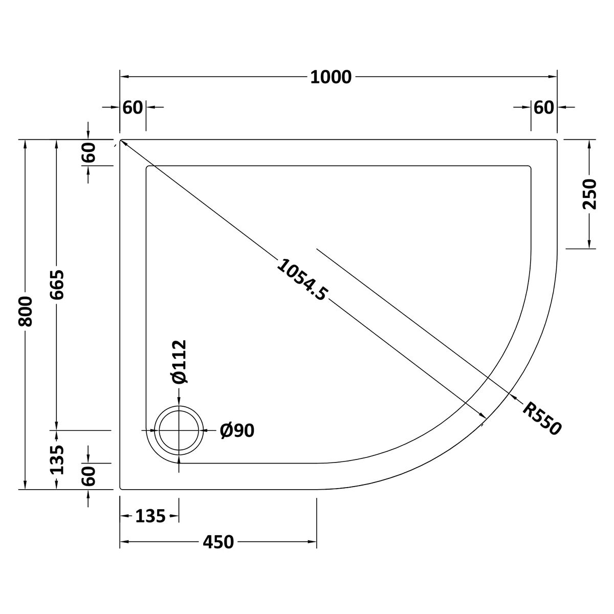 1000 x 800 Shower Tray Slate Grey Offset Quadrant Low Profile Right Hand by Pearlstone Line Drawing