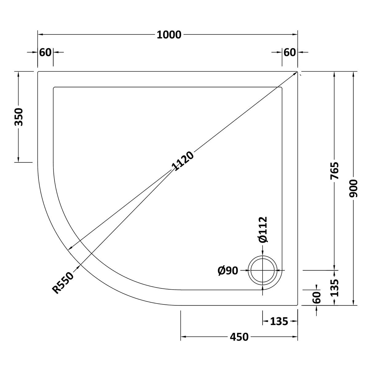 1000 x 900 Shower Tray Offset Quadrant Low Profile Left Hand by Pearlstone Line Drawing