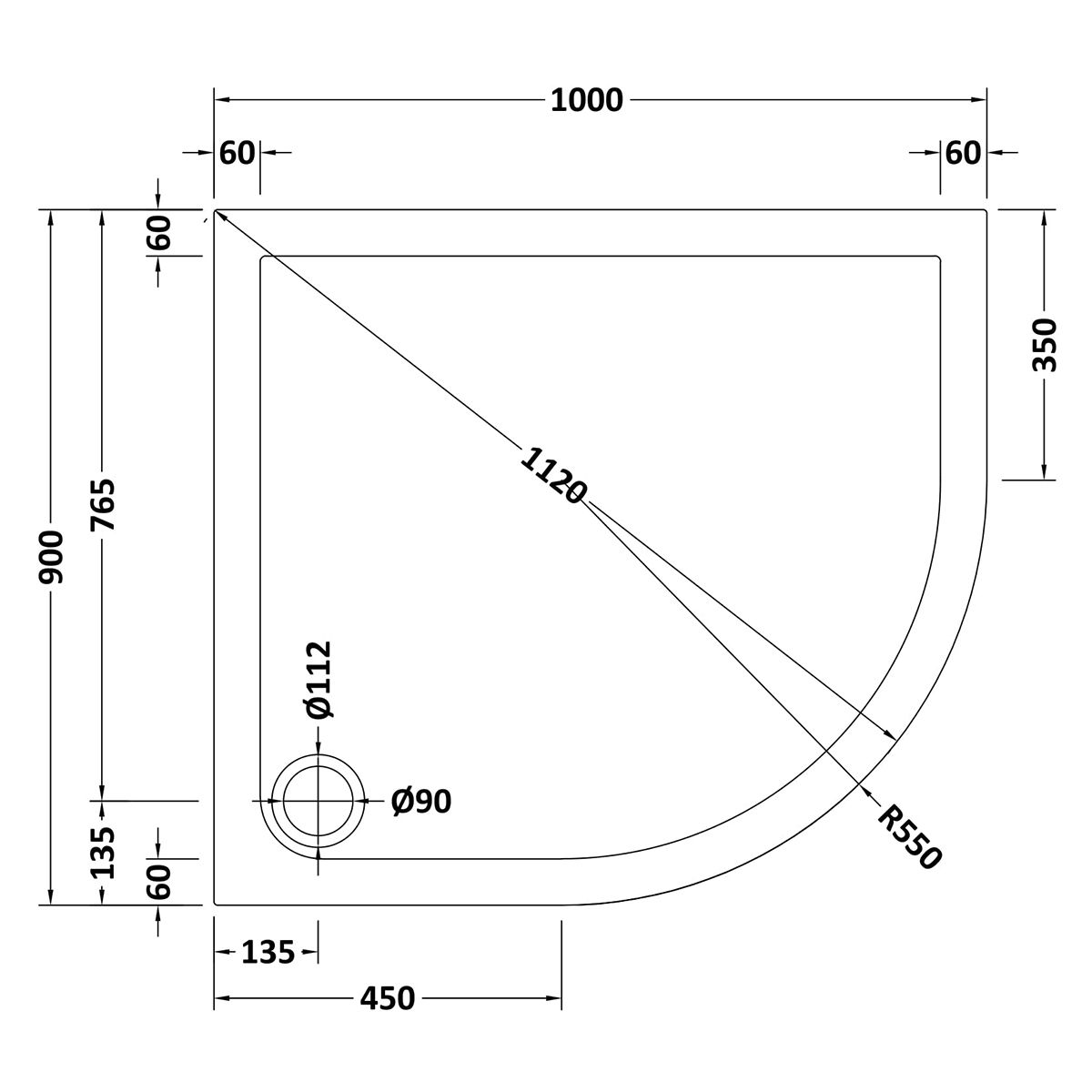 1000 x 900 Shower Tray Offset Quadrant Low Profile Right Hand by Pearlstone Line Drawing