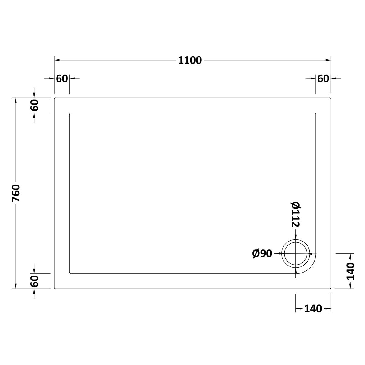 1100 x 760 Shower Tray Rectangular Low Profile by Pearlstone Dimensions