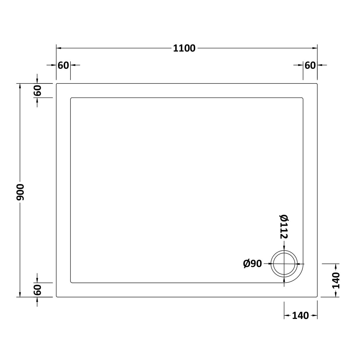 1100 x 900 Shower Tray Rectangular Low Profile by Pearlstone Dimensions