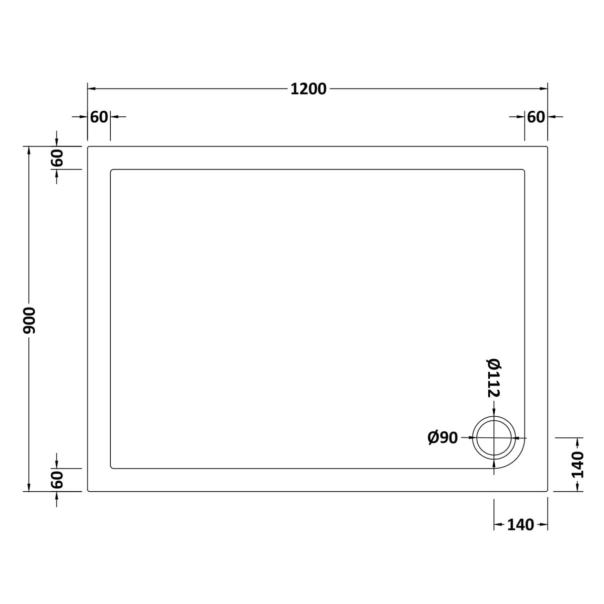 1200 x 900 Shower Tray Rectangular Low Profile by Pearlstone Dimensions