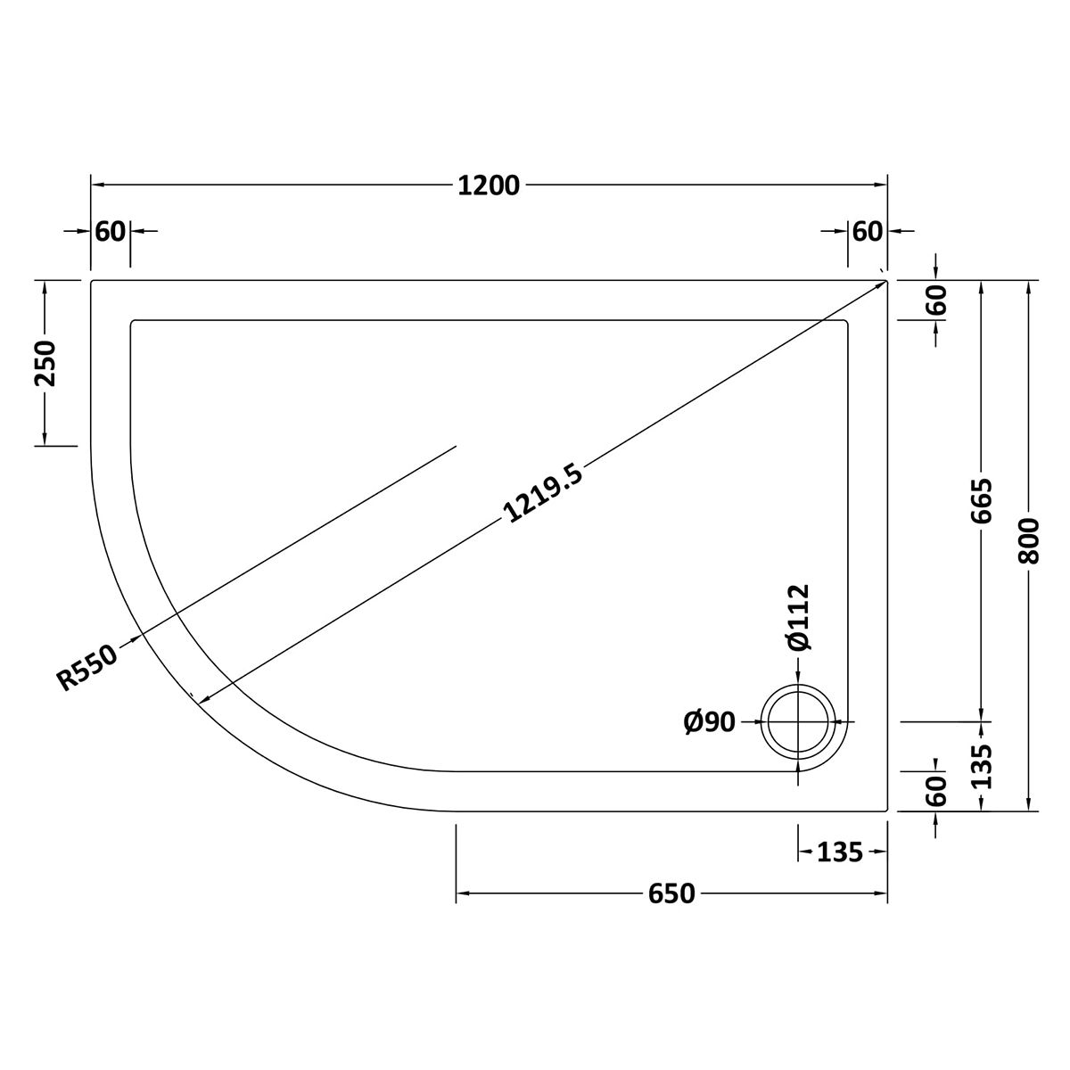 1200 x 800 Shower Tray Offset Quadrant Low Profile Left Hand by Pearlstone Line Drawing