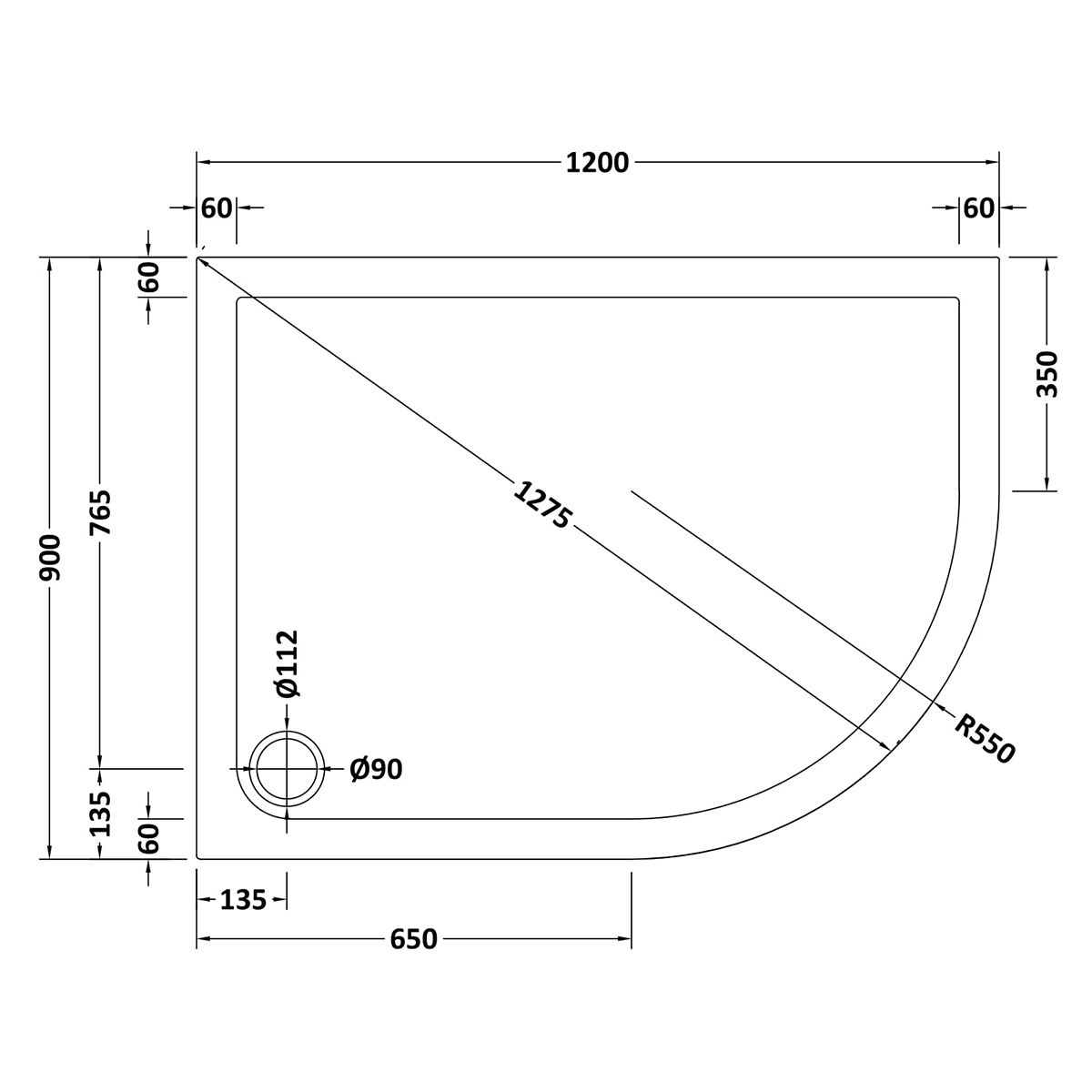 1200 x 900 Shower Tray Offset Quadrant Low Profile Right Hand by Pearlstone Line Drawing