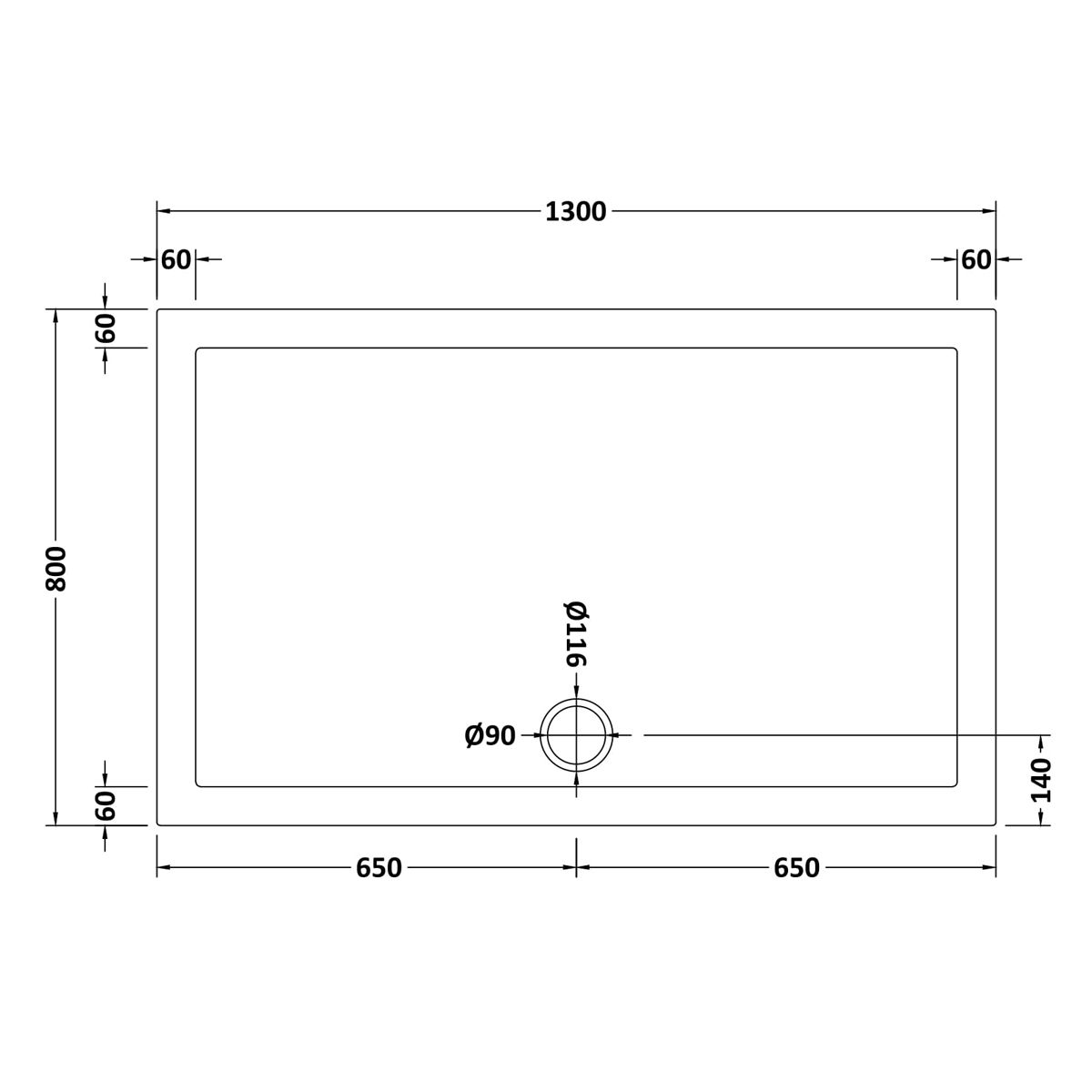 1300 x 800 Shower Tray Rectangular Low Profile by Pearlstone Dimensions