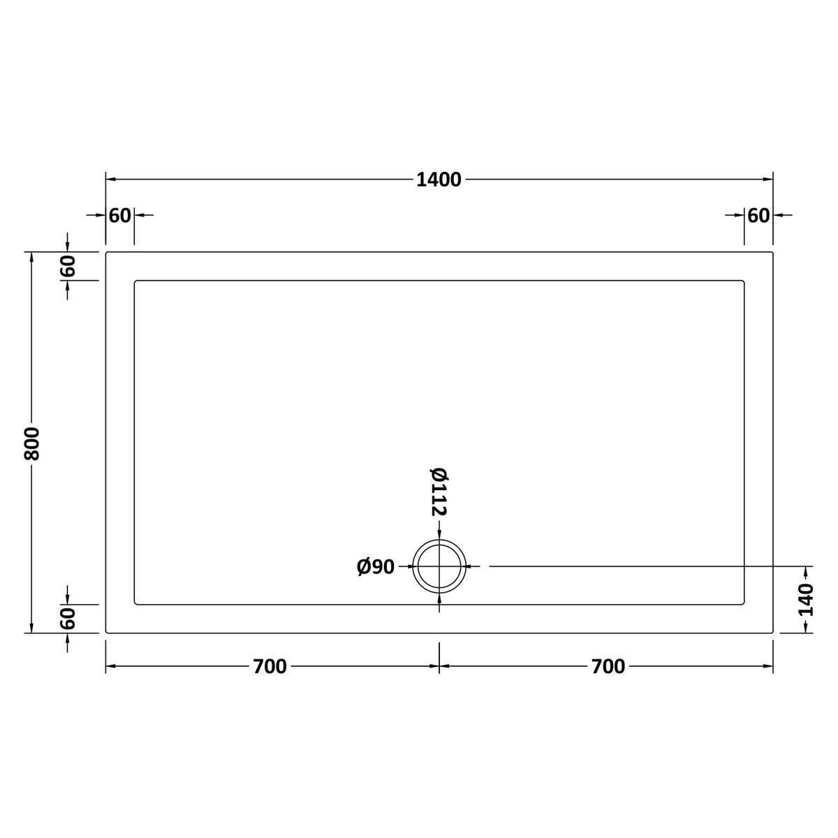 1400 x 800 Shower Tray Rectangular Low Profile by Pearlstone Dimensions