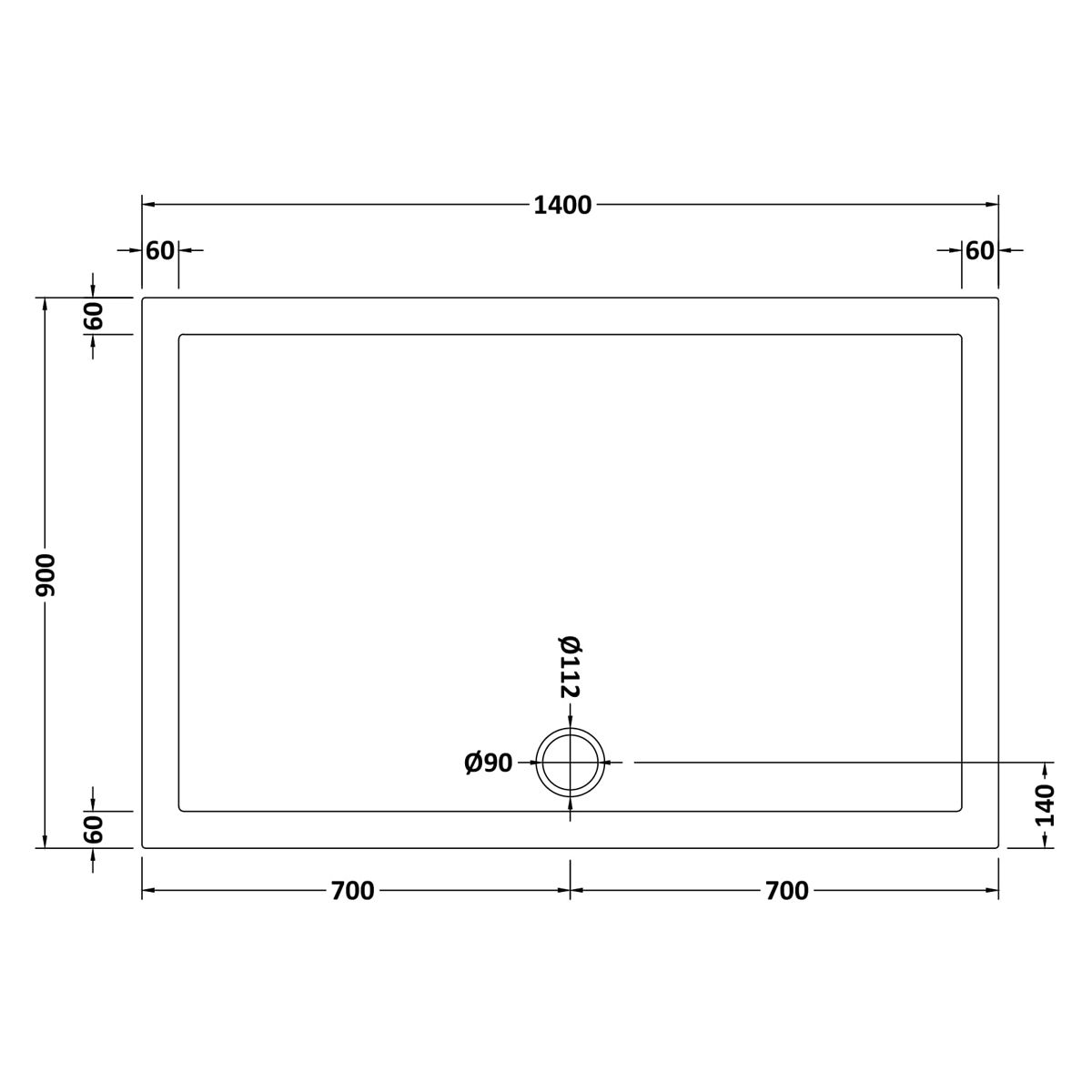 1400 x 900 Shower Tray Slate Grey Rectangular Low Profile by Pearlstone Dimensions