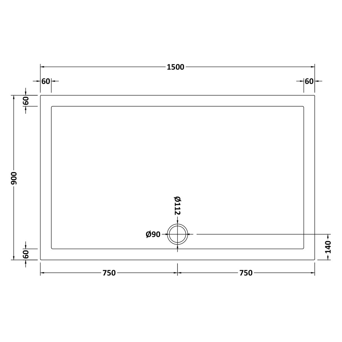 1500 x 900 Shower Tray Slate Grey Rectangular Low Profile by Pearlstone Dimensions