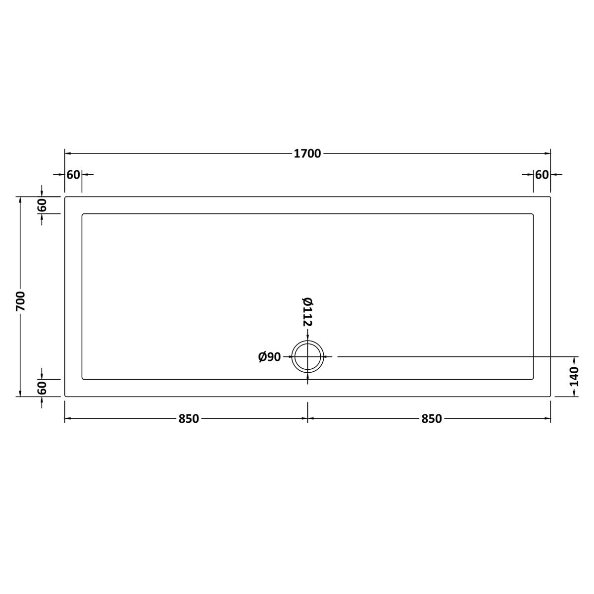 1700 x 700 Shower Tray Rectangular Low Profile by Pearlstone Dimensions